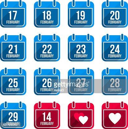 February vector flat calendar icons. Days Of Year Set 10 : stock vector