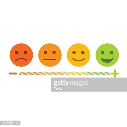 Icono de diseño plano de emoticon retroalimentación fijar de negativo a positivo : Arte vectorial