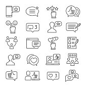 Feedback line icon set. Business information about reactions to a product, statements of opinion in speech bubbles. Vector line art illustration