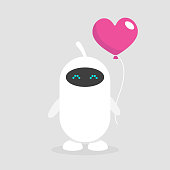 Feelings of robots. Cute white cyborg holding a heart shaped baloon. Romantic relationships. Flat editable vector illustration, clip art