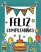 Feliz cumpleanos, happy birthday greeting written in spanish language, colorful festive sketch for card, flyer, poster, sign, banner, postcard, invitation, cartoon vector illustration