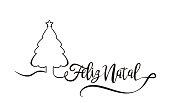 Feliz Natal is Merry Christmas in portuguese. Calligraphy brush banner vector.