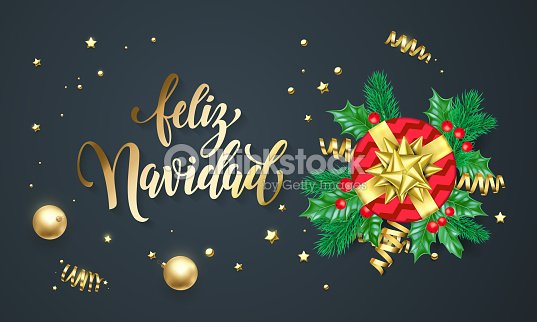 feliz navidad spanish merry christmas golden decoration and gold font calligraphy greeting card design vector