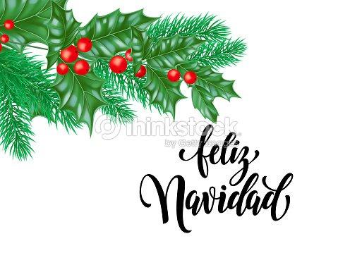 Feliz navidad spanish merry christmas holiday hand drawn calligraphy feliz navidad spanish merry christmas holiday hand drawn calligraphy text for greeting card of holly wreath m4hsunfo