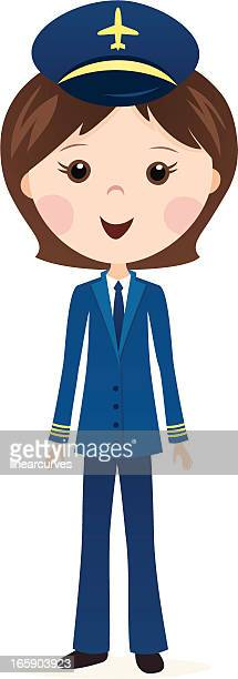 female airline pilot cartoon
