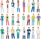 Female and male doctors and women and man nurse set vector illustration. Vector healthcare hospital medical team isolated on white background