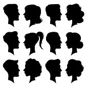 Female and Male faces silhouettes in vintage cameo style. Retro woman and man face profile portrait head black silhouette icon. People pony tail girl and boy couple vector icons isolated symbol set