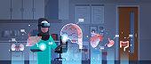 female arab doctor wearing digital glasses touching virtual reality brain human organs infographic anatomy medical vr headset vision concept hospital office interior portrait horizontal vector illustr