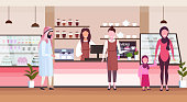 female barista coffee shop worker serving arab people clients giving glass of hot drink waitress standing at cafe counter modern cafeteria interior flat full length horizontal vector illustration