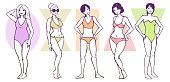Set of women's body shape types - apple / rounded, hourglass, rectangle, triangle / pear, inverted triangle
