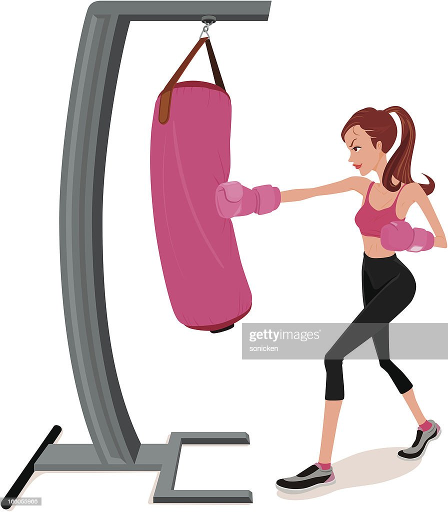 Female boxing workout : Vector Art