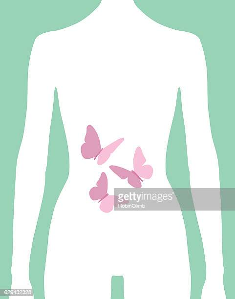 Female Butterflies In Stomach Icon