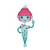 Female cartoon robot, vector illustration