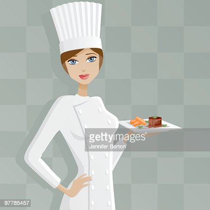 femme chef avec filet mignon clipart vectoriel getty images. Black Bedroom Furniture Sets. Home Design Ideas