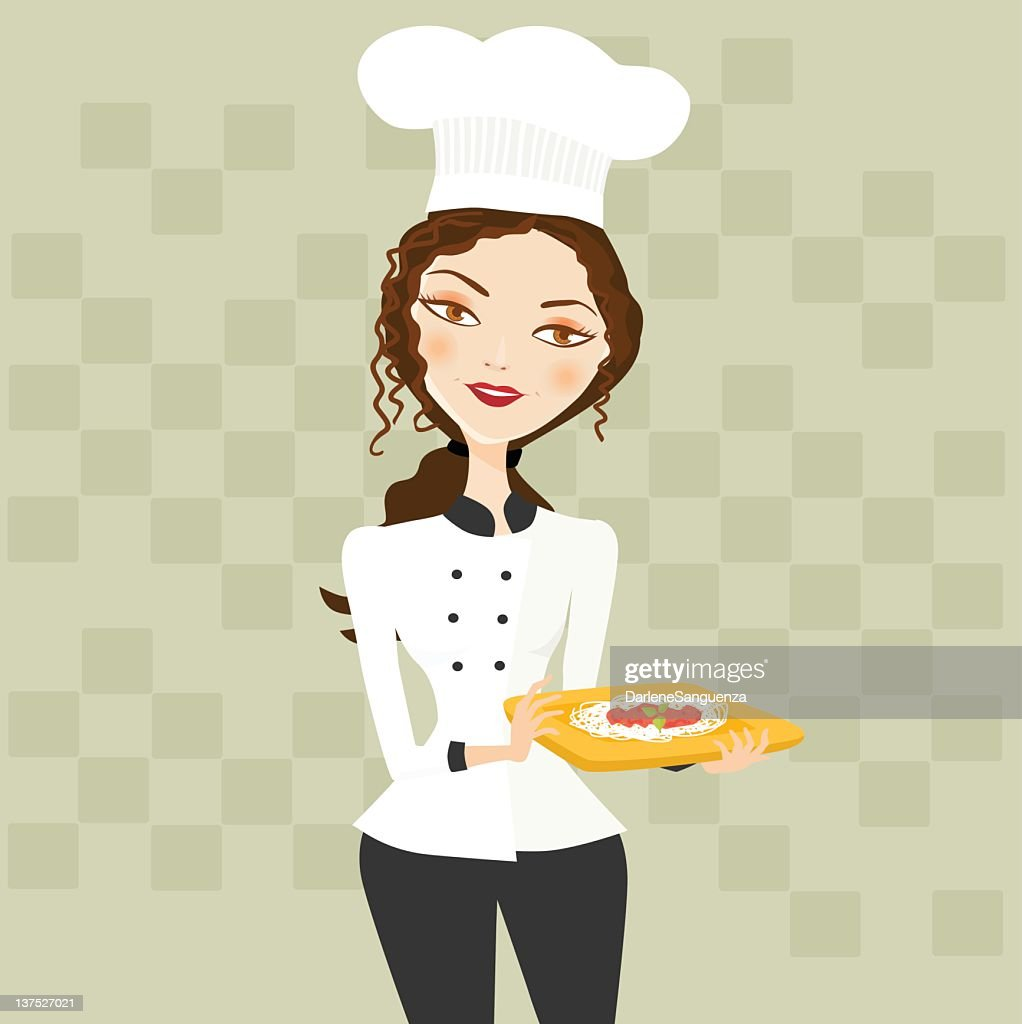 Female Chef with Pasta