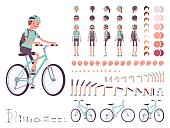 Female cyclist on sport bike character creation set. Full length, different views, emotions, gestures, isolated on white background. Build your own design. Cartoon flat-style infographic illustration
