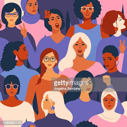 Female diverse faces of different ethnicity seamless pattern. Women empowerment movement pattern. International womens day graphic in vector. : stock vector