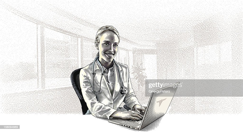 Female Doctor and Computer : Vector Art