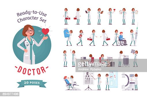 Female Doctor ready-to-use character set : stock vector