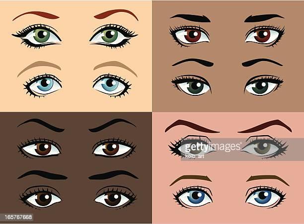 Weibliche Augen mit verschiedenen Farben und straffe Haut.