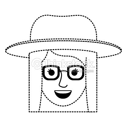 Female Face With Hat And Glasses And Short Straight Hairstyle In