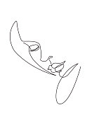 This a single continuous vector line illustrating a sensual woman female form