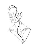Check out this stylish single line vector graphic of a woman with an ultraviolet color gradient.