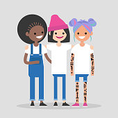 Female friendship. Girl power. Three cute girls of different nationalities hugging and smiling. Having fun together. Flat editable vector illustration, clip art