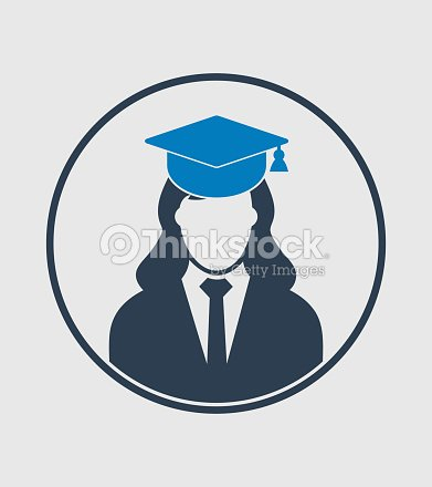 ea7850d40 Icono de Perfil de estudiante graduado con vestido y gorra. Vector de  estilo plano EPS