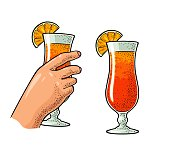 Female hand holding a glass of cocktail with sice orange. Vintage vector color engraving illustration for label, poster, invitation to a party. Isolated on white background