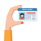 Female hand holding a driving licence women. Indification card ID card with photo. Vector illustration in flat style isolated on white background