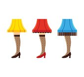 Womens leg lamps. Set of funny vintage lampshades in shape of female legs. Vector illustration.