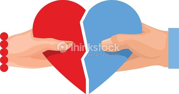 Female Male Hand Holding Heart Symbol Love Two Half Heart Vector Art