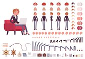 Female manager character creation set. Full length, different views, isolated against white background. Build your own design. Cartoon flat-style infographic illustration