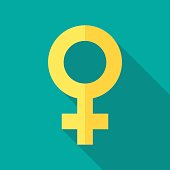 Female sex symbol icon with long shadow. Flat design style. Gender symbol simple silhouette. Modern, minimalist icon in stylish colors. Web site page and mobile app design vector element.