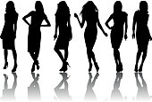 Illustration of fashion female silhouette set isolated