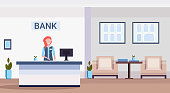 female specialist at reception counter financial consulting center with waiting room and reception modern bank office interior horizontal flat vector illustration