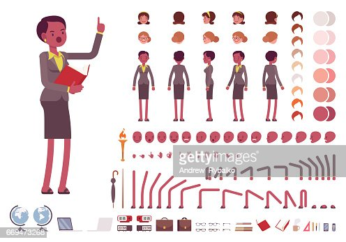 Female teacher character creation set : stock vector
