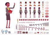 Female teacher character creation set. Full length, different views, isolated against white background. Build your own design. Cartoon flat-style infographic illustration