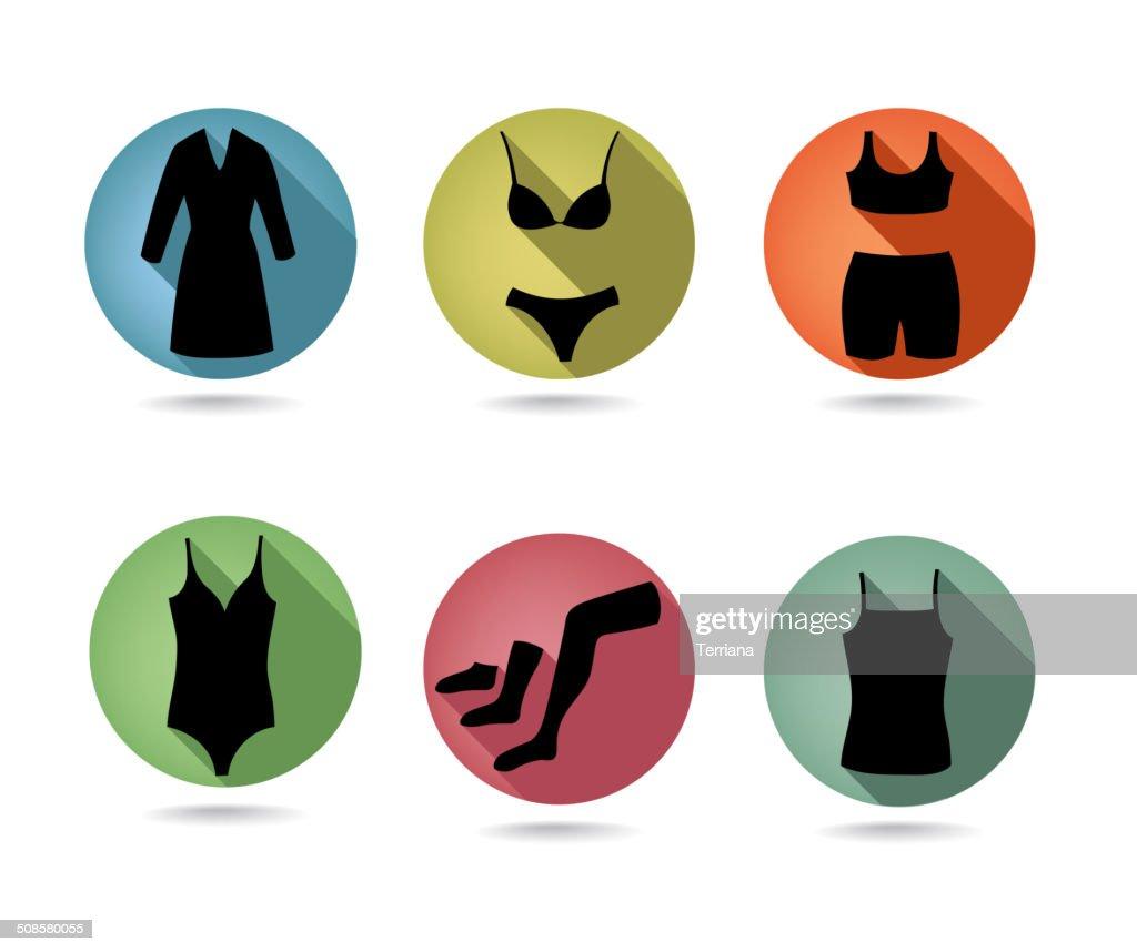 Female underwear set. Button collection. : Vectorkunst