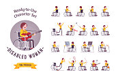 Female young wheelchair user ready-to-use character set. Training during rehabilitation, town problems, sport and everyday work. Various poses, emotions. Physical disability, society concept