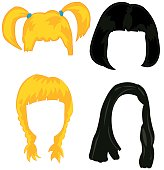 Feminine wigs on white background is insulated