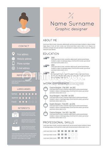 Weiblicher Lebenslauf Mit Infografik Design Vektorgrafik Thinkstock