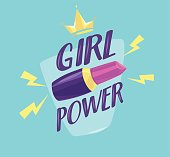 Feminism slogan with lipstick and slogan lettering girl power. Vector stock ilustration
