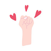 Feminist fist surrounded by hearts vector