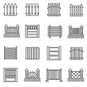 Fence icons set. The construction for the protection of the territory, thin line design. Fence made of metal, stone, brick. isolated vector illustration.
