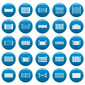 Fence icons set blue. Simple illustration of 25 fence vector icons for web