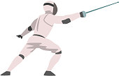 Fencer in Attack with Foil, Male Athlete Character in Sports Uniform, Active Sport Healthy Lifestyle Vector Illustration on White Background.