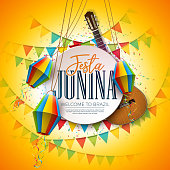 Festa Junina Illustration with Acoustic Guitar, Party Flags and Paper Lantern on Yellow Background. Vector Traditional Brazil June Festival Design for Greeting Card, Invitation or Holiday Poster