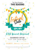 Festival Sale Poster Flyer Layout Template A4 Size Vector Illustration